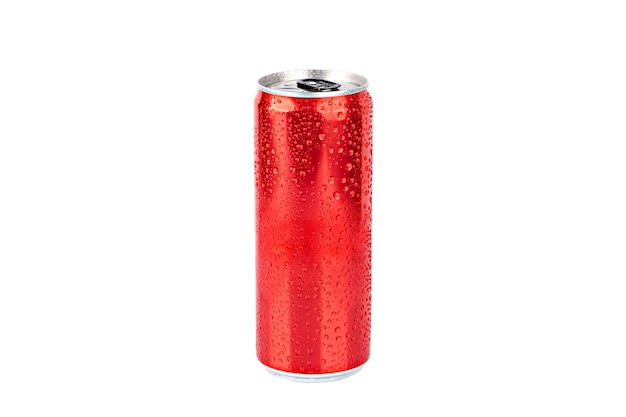Rood metalen blikje met waterdruppels isolaat