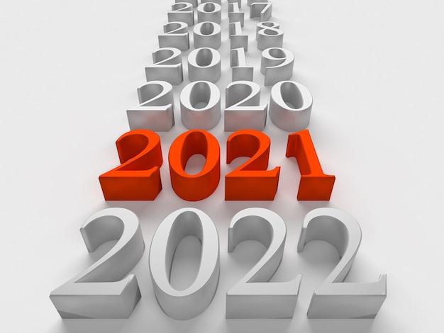 Rood nummer van nieuw 2021 jaar in de buurt van oude jaren