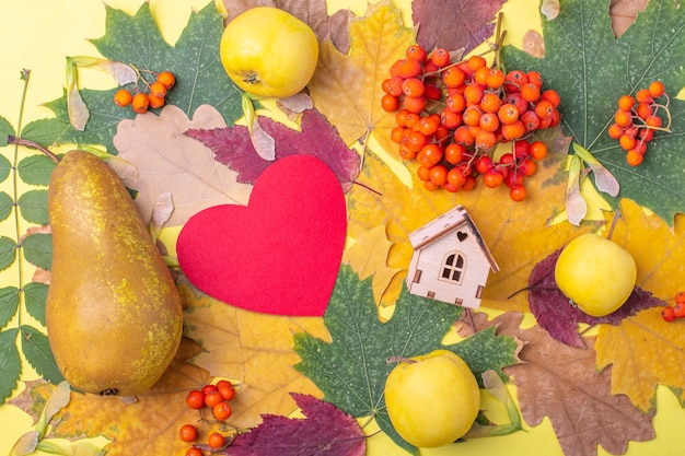 Rood papieren hart, de vorm van een houten huis op veelkleurige rode, oranje, groene droge gevallen herfstbladeren en oranje lijsterbessen, appels en peer op een gele achtergrond.