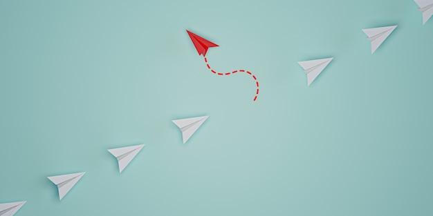 Rood papieren vliegtuig niet in lijn met wit papier om te veranderen en een nieuwe normale manier te vinden op een blauwe achtergrond. lift en zakelijke creativiteit nieuw idee om innovatietechnologie te ontdekken. 3d render