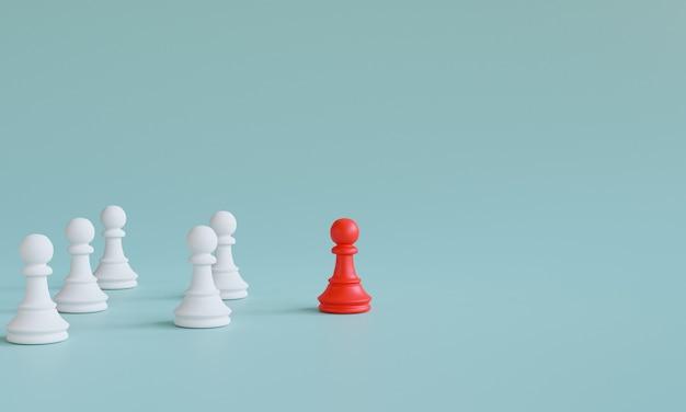 Rood pionschaak stapte uit de lijn naar leidend wit schaak op blauwe achtergrond voor verschillende denkideeën en leiderschapsconcept door 3d render.