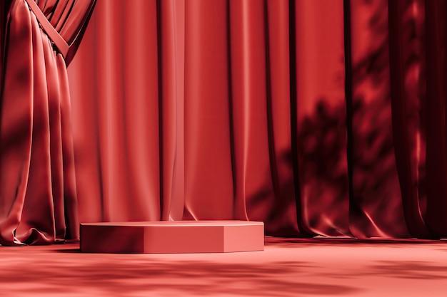 Rood platform op rode gordijnscène, zonnescherm en bomenschaduw op achtergrond. abstracte achtergrond voor product of advertenties presentatie. 3d-rendering