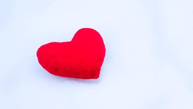 Rood pluchehart op sneeuw.