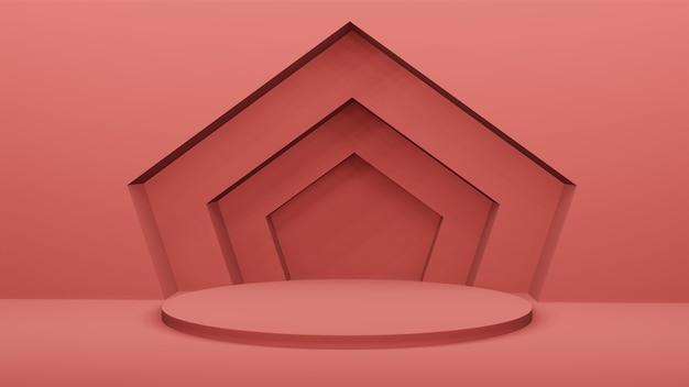 Rood podium met geometrische boog op de muur