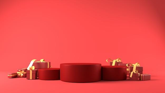 Rood podium voor productplaatsing in kerstthema