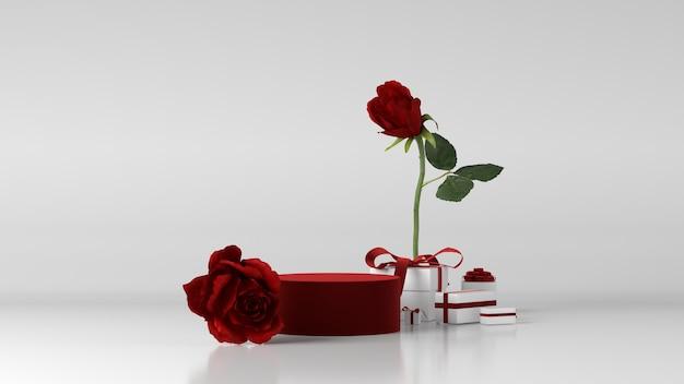 Rood podium voor productplaatsing versierd met roos