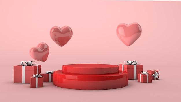 Rood podium voor valetinedag met rode geschenkdozen en roze harten. 3d geef liefde achtergrondconcept terug