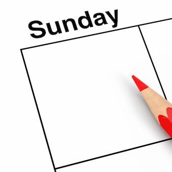 Rood potlood over zondag kalender scheduler cel met lege ruimte voor uw ontwerp extreme close-up. 3d-rendering