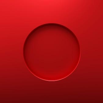 Rood rond frame of cirkelgat op de muur van het staalgat met grenzenconcept. rood staal en geometrische vorm. 3d-weergave.