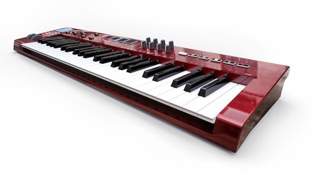 Rood synthesizer midi-toetsenbord op wit oppervlak. synth toetsen close-up