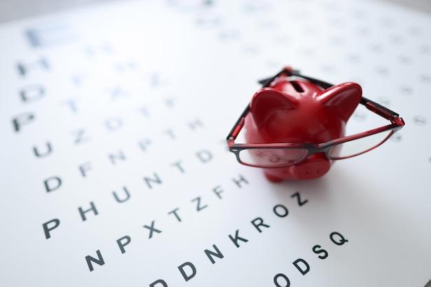 Rood varken spaarvarken in glazen staat op oogheelkundige tafel kosten voor de behandeling van oogziekten