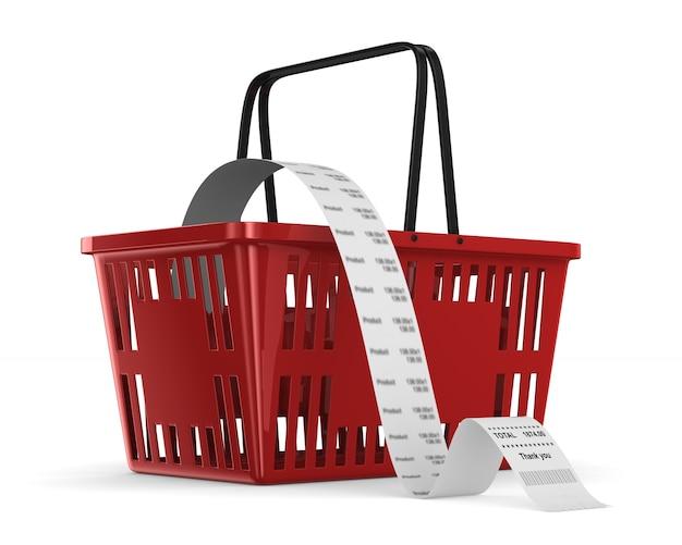 Rood winkelmandje en verkoopcontrole. geïsoleerde 3d-weergave