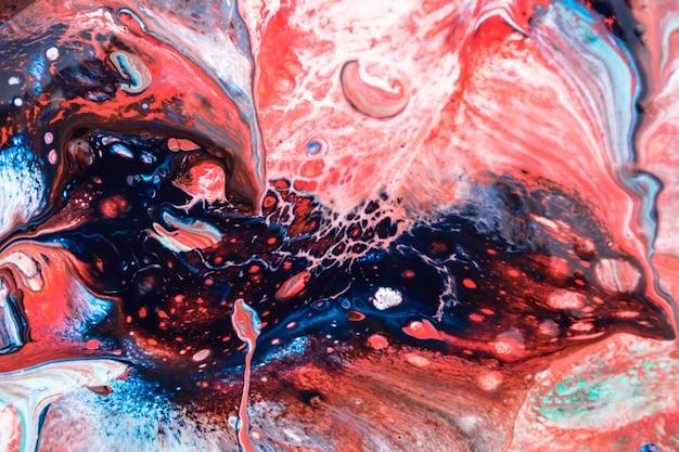 Roodblauwe marmeren kosmische vloeibare inkttextuur