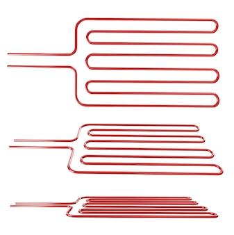 Roodgloeiend rooster op witte achtergrond in verschillende hoeken 3d-rendering