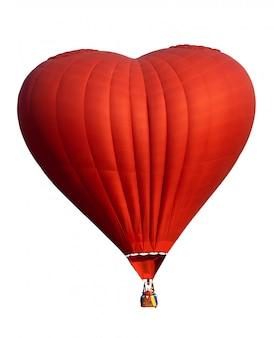 Roodgloeiende luchtballon in hartvorm