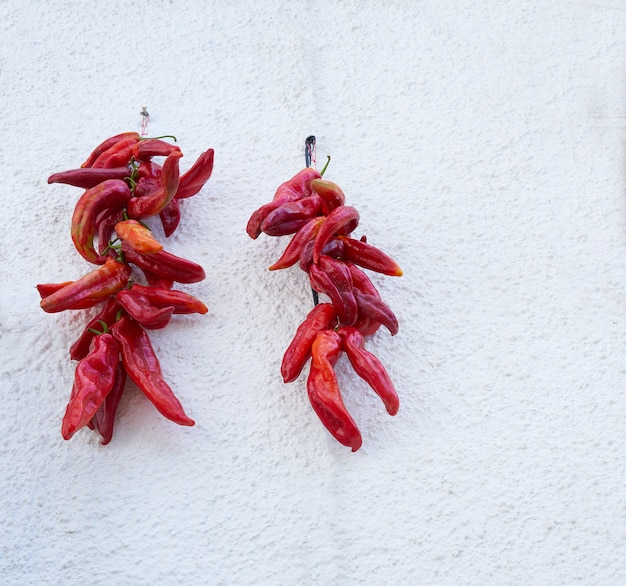 Roodgloeiende peper die in alpujarras granada hangen