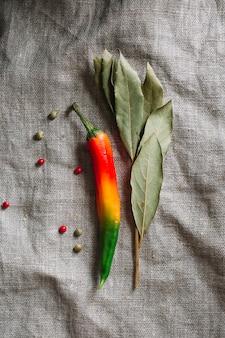 Roodgloeiende spaanse peperspeper met droge bladeren