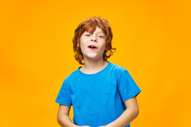 Roodharige jongen in een blauw t-shirt mooi gezicht sproet
