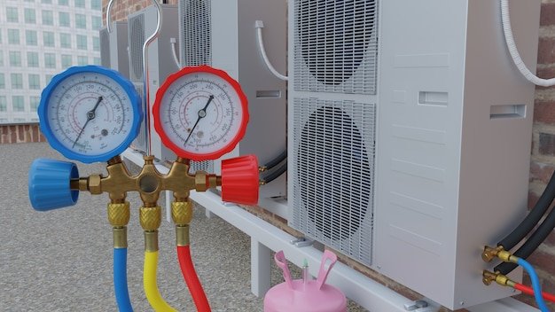Rooftop airconditioning service 3d render