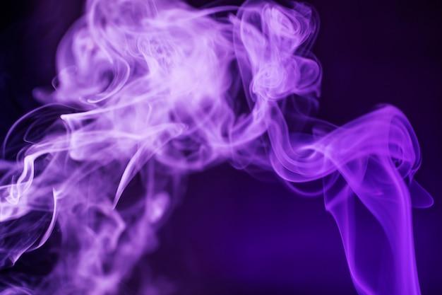 Rook op een donkere achtergrond in een fel trendy paars neonlicht.