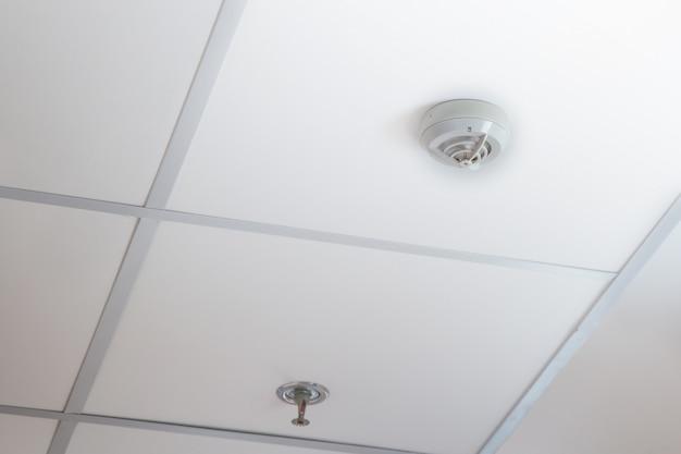 Rookmelder en hangende brandsprinkler op een plafond, brand noodsituatie