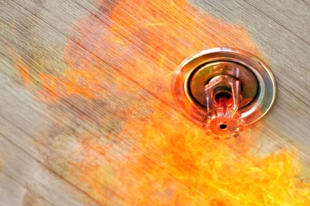 Rookmelder met dubbele belichting en hangende sprinklerinstallatie aan het plafond, brandalarm