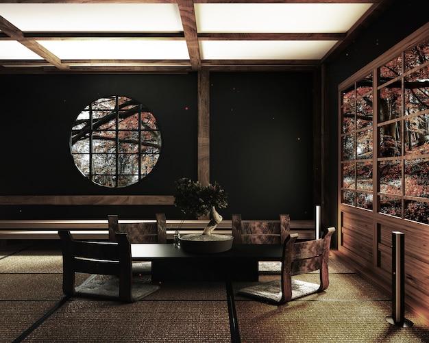 Room design japanse stijl. 3d-rendering