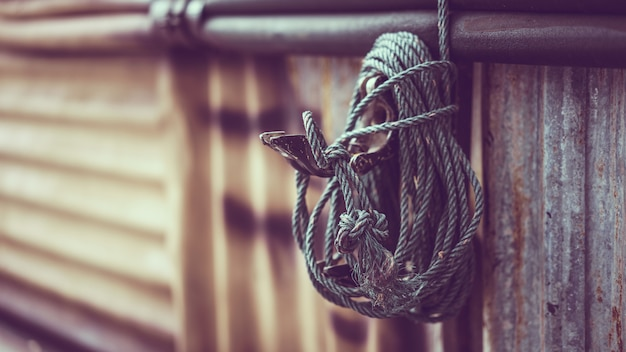 Rope tied on wall