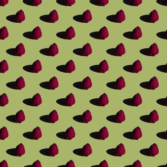 Rosebud naadloos patroon op groen