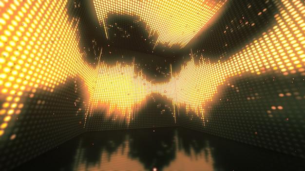 Rotatie magische en kleurrijke doos met glitter en flikkerende stippen op muren. 3d-afbeelding