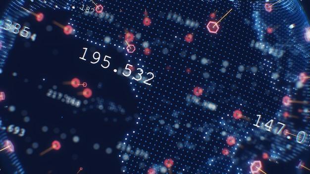 Roterend van de bedrijfs aarde toekomst 3d illustratietechnologie bedrijfsconcept