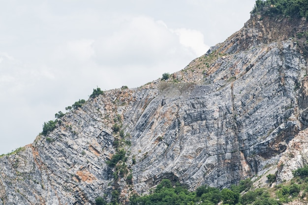 Rotsachtige berg en groen bos in daggevoel storng