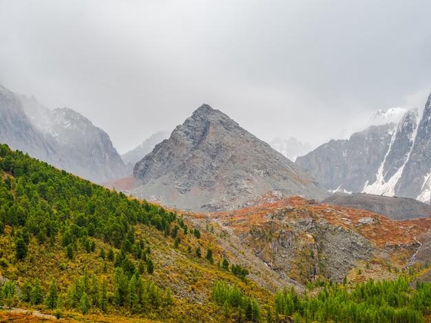 Rotsachtige bergvallei met ochtendmist. highland valley tussen besneeuwde bergketen en puntige piek onder dramatische hemel. sfeervol berglandschap.