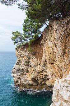 Rotsachtige klif gelaagde steen en dennen over de turquoise zee