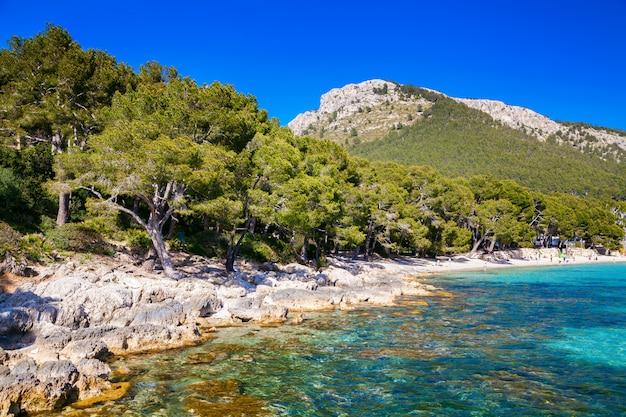 Rotsachtige kustlijn vlakbij het strand van mallorca