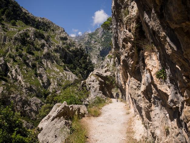 Rotsachtige weg door de grote bergen