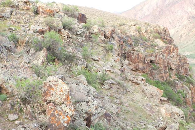 Rotsen aan de rand van de klif in de avond