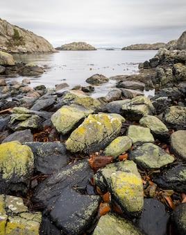 Rotsen bedekt met korstmossen, de oceaan en eilanden. urdeiland bij de rovaer-archipel in haugesund, noorse westkust. verticaal beeld