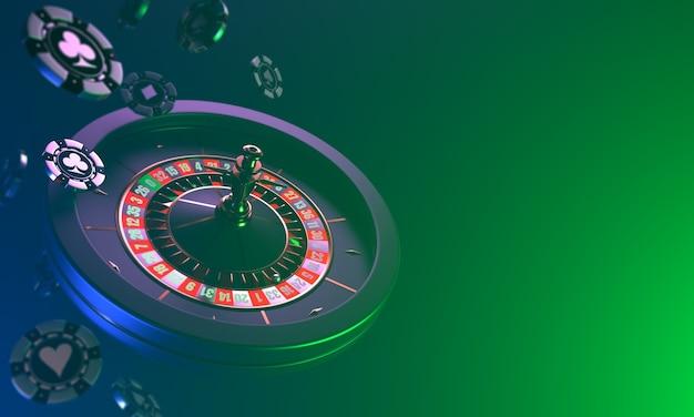 Roulette casino op een donkere dynamische val van casinofiches en roulette op een donkere casino