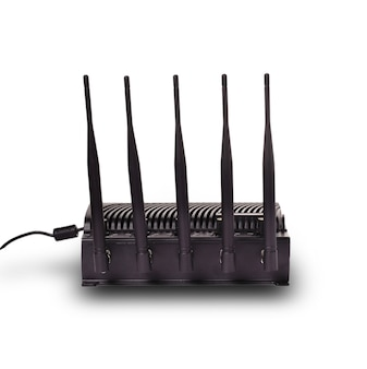 Router zwart met antenne gesneden geïsoleerd