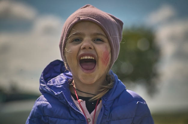 Rovigo, itali 21 juli 2021: kind schreeuwend portret