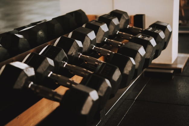 Row with black dumbbells lying on shelf in gym