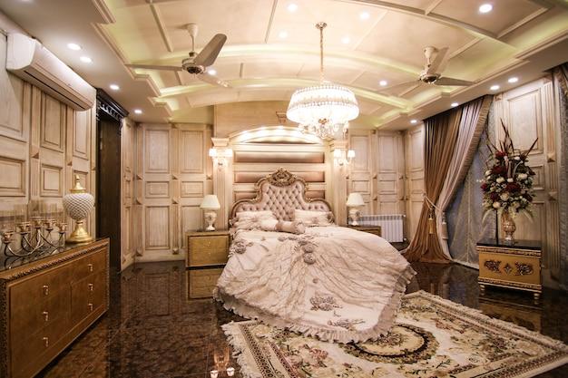 Royal luxury bedroom white met bed