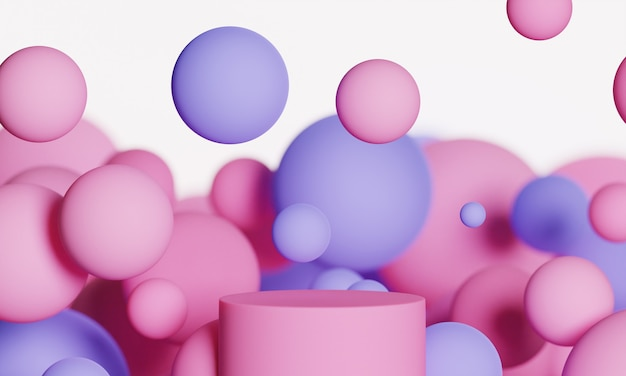 Roze 3d mock-up podium met vliegende bollen of ballen in roze, lavendel en paars op een witte achtergrond. helder, stijlvol, eigentijds abstract modern platform voor product- of cosmeticapresentatie.