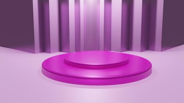 Roze 3d-weergaveplatform voor abstracte beurs