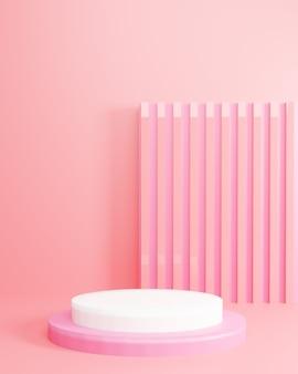Roze abstracte geometrie vorm witte podium minimalistische mockup scène voor cosmetica of een ander product