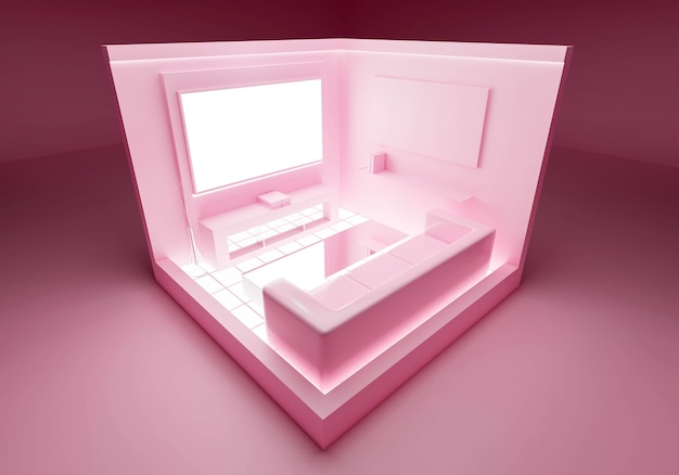 Roze abstracte pastel achtergrond in woonkamer interieur