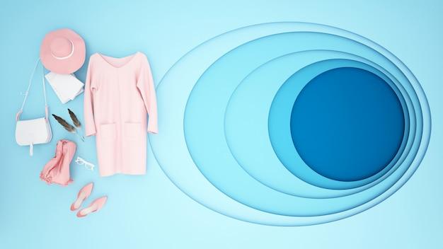 Roze accessoires en blauwe achtergrond