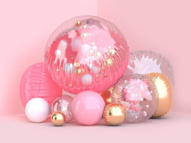 Roze achtergrond 3d-rendering roze duidelijk gouden metalen ballon groep