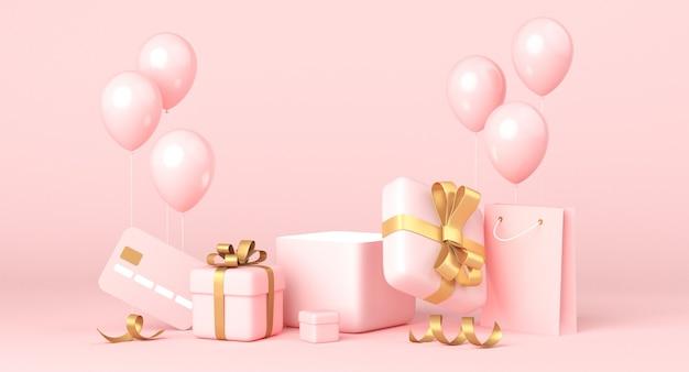 Roze achtergrond, gouden geschenkdozen en ballonnen, lege ruimte. eenvoudig schoon ontwerp, luxe minimalistische mockup. 3d-weergave